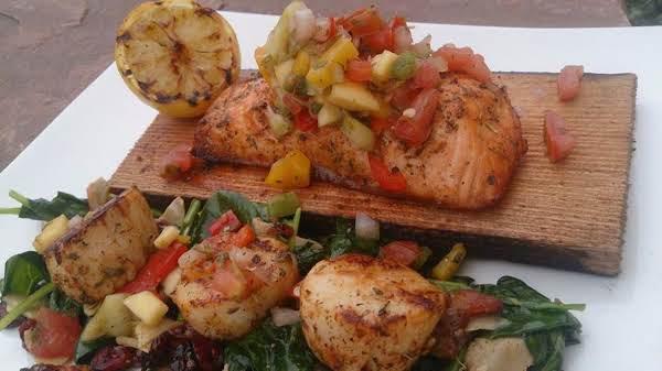 Summer Salmon & Scallops W/mango Salsa And Spinach