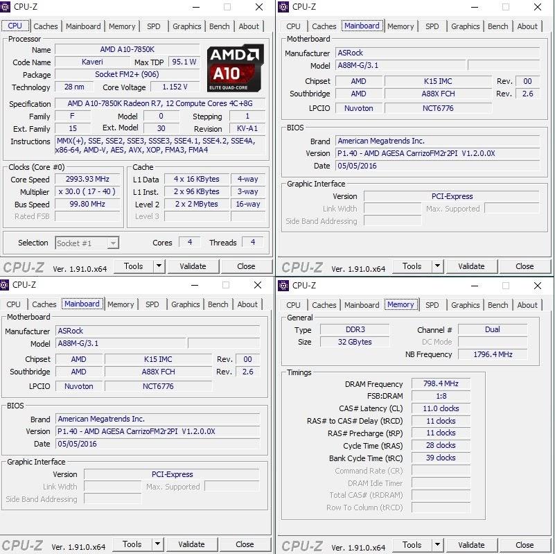 新マザーボード ASRock A88M-G/3.1 旧型のFM2+ メモリは奮発して32Gb