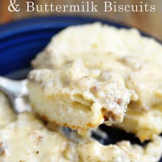 White Sausage Gravy and Buttermilk Biscuits.