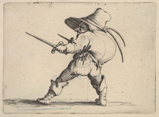 Small male figure wearing a hat, with daggers in both hands, and placing his weight on his right foot as he stretches his left foot forward, from the series 'Varie figure gobbi'