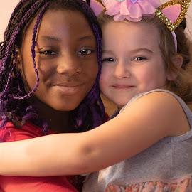 Friendship by Sandra Hilton Wagner - Babies & Children Children Candids ( children, happy, hugs, girls, female, youth, friends )