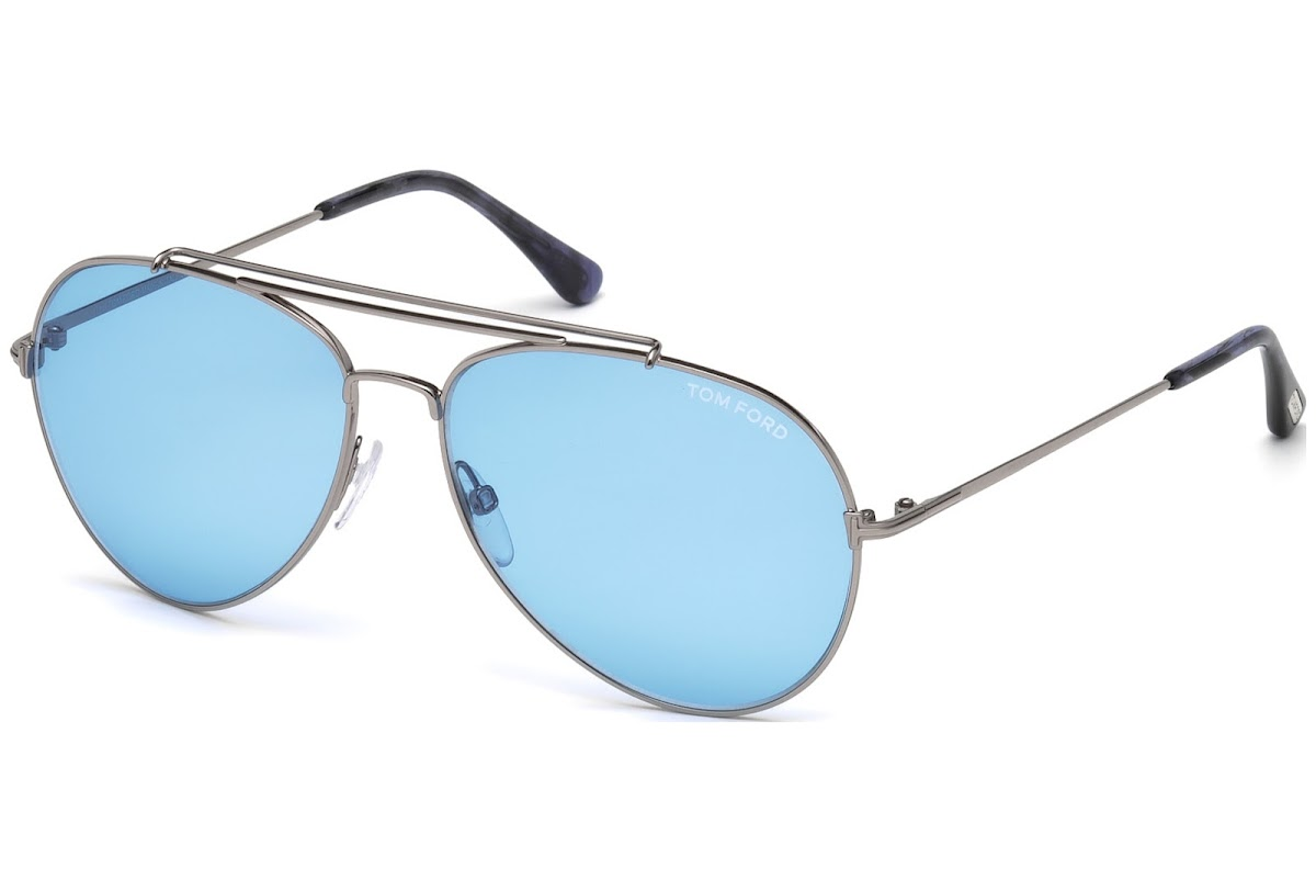cf97a07f1b69 Buy Tom Ford Indiana FT0497 C60 14V (shiny light ruthenium   blue)  Sunglasses