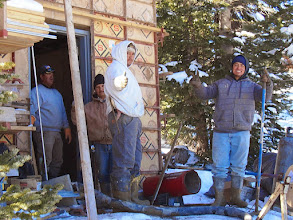 Photo: Experienced cement workers come from New Mexico to finish the final stage of the Race Hutch.