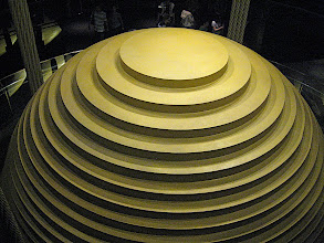Photo: Steel ball suspended from the top of Taipei 101.  The ball is 5 meters in diameter and weighs about 600 tons.  At the bottom are damped pistons to suppress building oscillations.