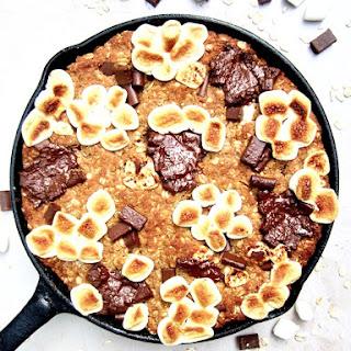 Vegan S'mores Oatmeal Cookie Skillet Cake (Gluten Free!).