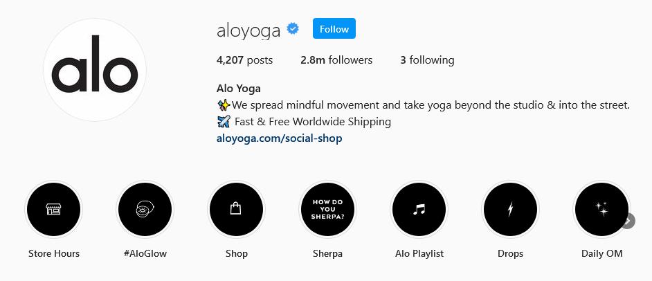 instagram brands alo yoga