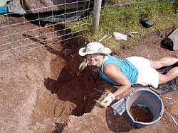 Photo: Rachel Wentz (PH.D. FSU Anthropology, 2005) now employed by the Florida Public Archaeology Network, doing field work in England.