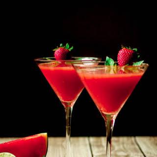 Strawberry Watermelon & Basil Martini with Vanilla Vodka.