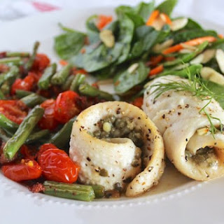Dill Caper Sole Recipe with Bacon, Green beans, Tomatoes & Spinach Salad.