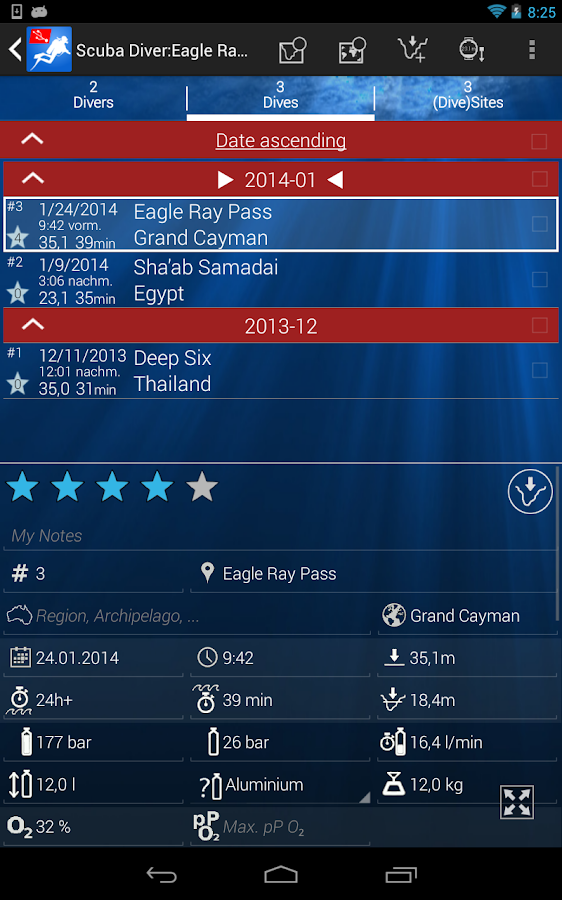 DiveMate (Scuba Dive Log)- screenshot
