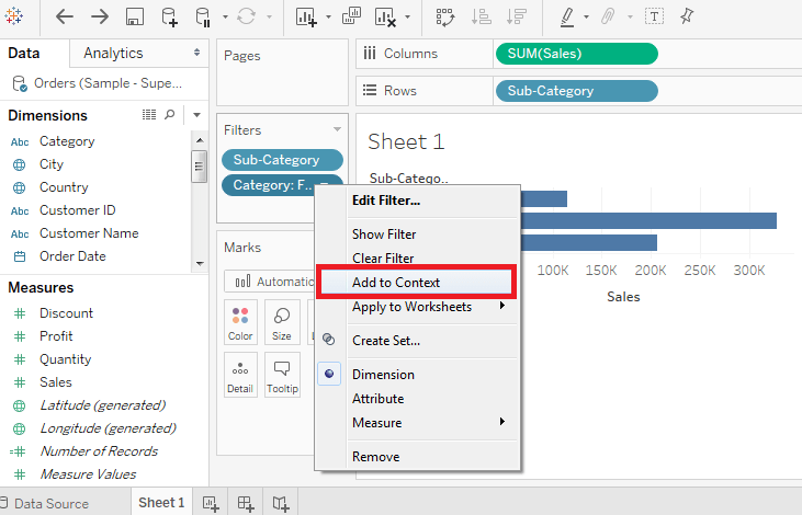 Tableau Context Filters