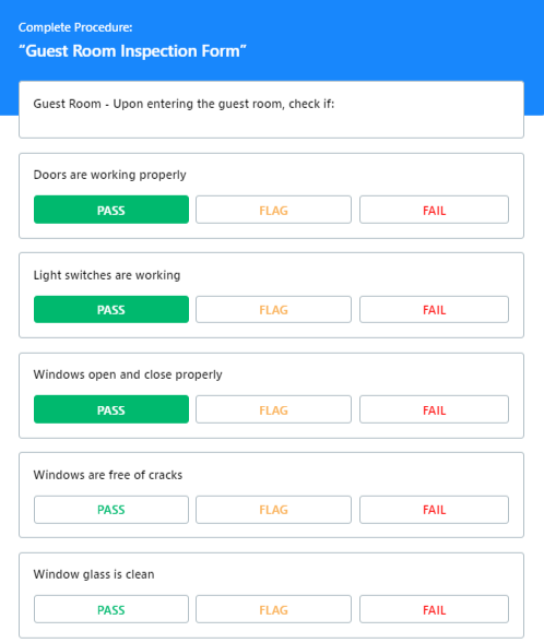 Standard Operating Procedure Checklist Inspection Form