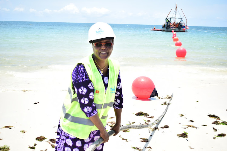 Maritime PS Nancy Karigithu receives the 36 TB undersea cable after in landed in Mombasa on Friday from Djibouti. Photo/CHARLES MGHENYI