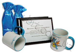Photo: Сувениры на Новый год для компании L-Town Group. Мешочек для шампанского из меха, металлические дипломы, сувенирные кружки