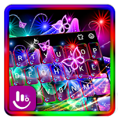 Colorful Neon Butterfly Keyboard Theme