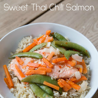Slow Cooker Sweet Chili Salmon with Asian Veggies.