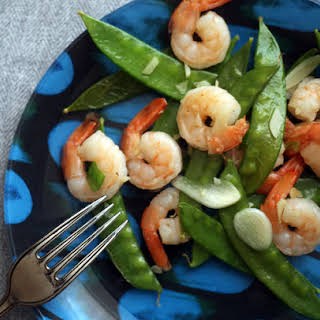 Garlicky Shrimp and Snow Peas.