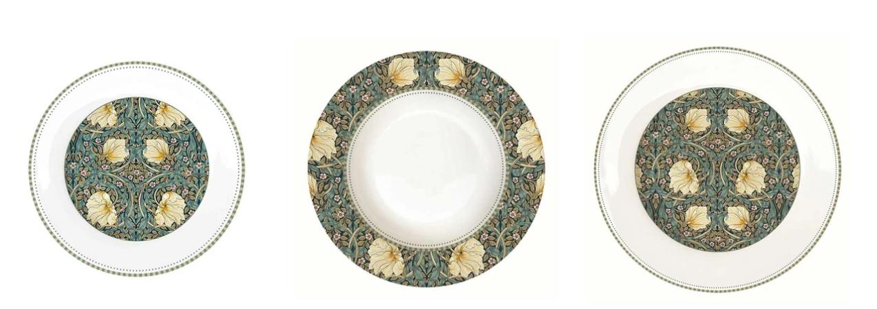 Festett porcelán tányérok a William Morris Black kollekcióból - Forrás: Loft and Vintage étkészletek