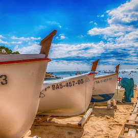 Tamariu beach by Henk Smit - Transportation Boats