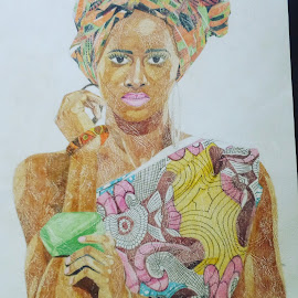 African woman by Reagan Muriuki - Drawing All Drawing ( african, art, beauty, drawing, artwork, portrait )