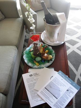 Easter on a #CrystalCruise the butler bunny brought this surprise to our stateroom, so classy and thoughtful