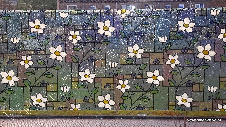 raamfolie glas in lood bloem