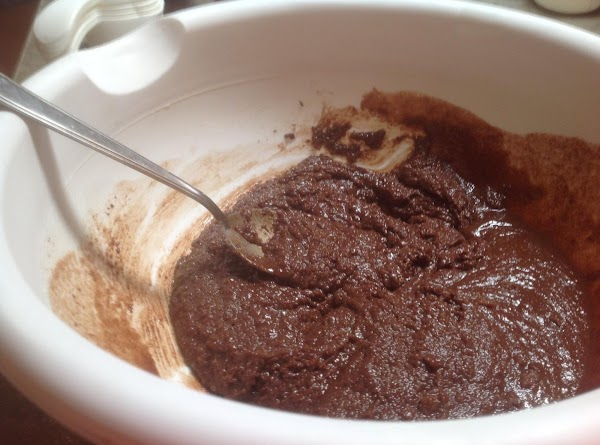 Add the sugar to the chocolate, and beat till blended.