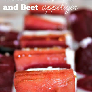 Watermelon, Feta and Beet Appetizer.