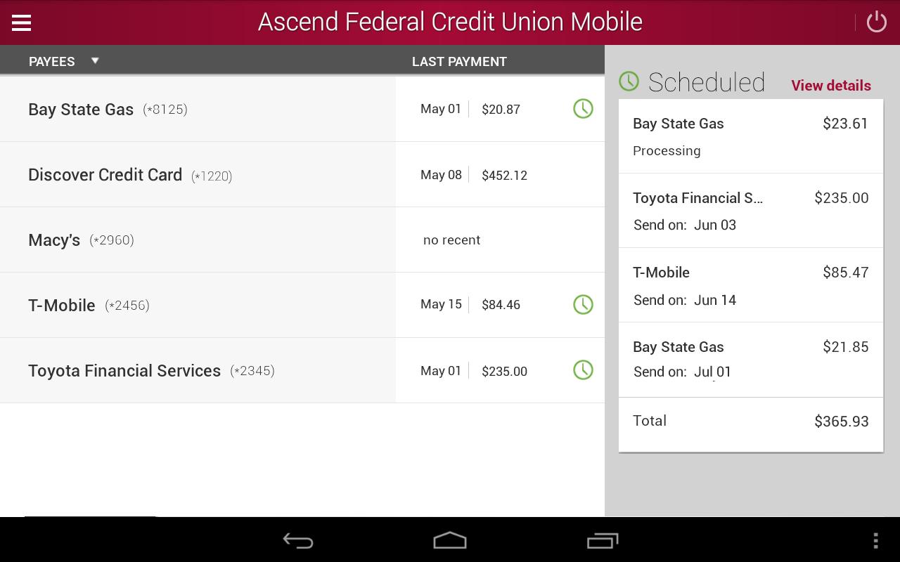 Ascend Federal Credit Union- screenshot