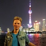 matt with Pudong at night in Shanghai, Shanghai, China
