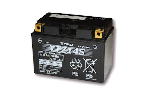 YUASA MC-batteri YTZ 14 S maintenance free (AGM) fyllt, 11,2Ah
