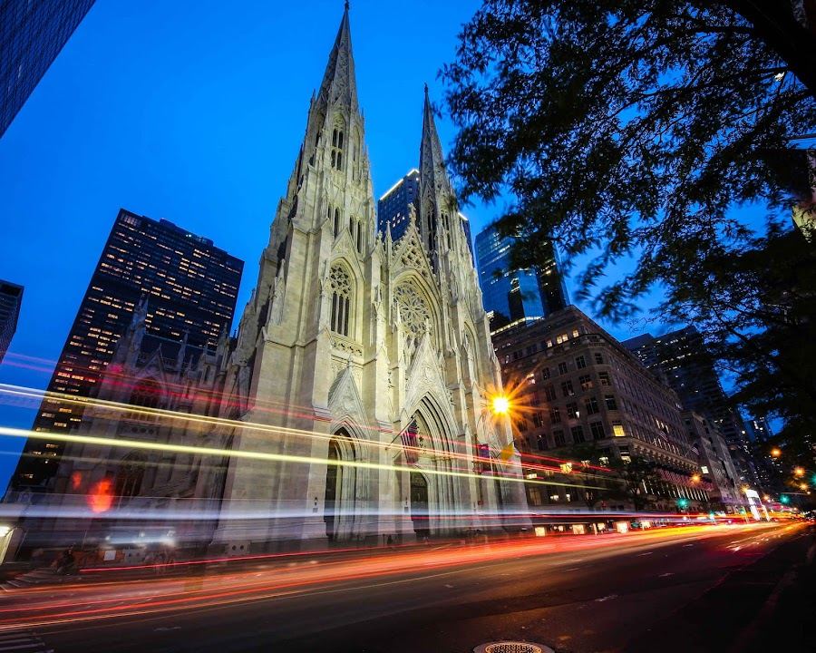 St Patricks by Bradford Fenton - Buildings & Architecture Places of Worship ( lights, bwf, church, action, long exposure, nyc, light, city,  )