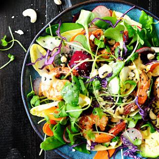 Rainbow Shrimp Salad with Tahini Dressing Recipe
