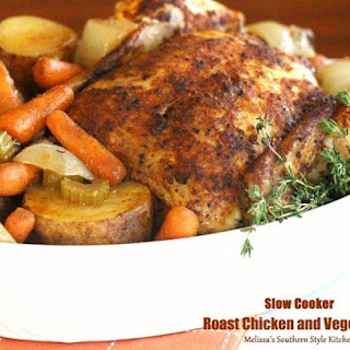 Slow Cooker Roast Chicken And Vegetables.