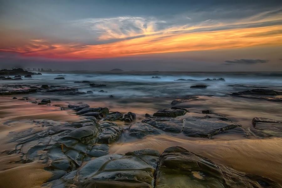 Mooloolaba Beach by Andy Rigby - Landscapes Beaches ( sand, sunshine, beach, rocks, coast, mooloolaba,  )