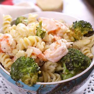 Roasted Broccoli and Garlic Shrimp Pasta.