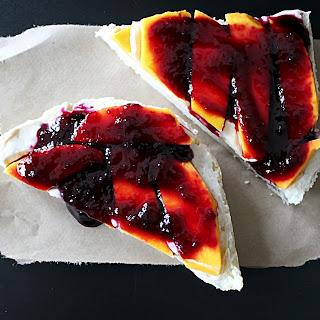 Open Faced Mango Blueberry Cinnamon Sugar Cream Cheese Sandwich