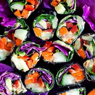 Raw Veggie Sushi Rolls with Homemade Hummus Recipe
