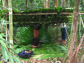 Photo: The guide and local guide making you camp use banana leaf -3 Days Nam Ha Jungle Campin Luang Namtha, Laos