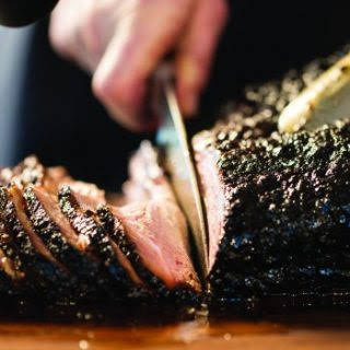 Ancho Chile Rubbed Smoked Beef Brisket.