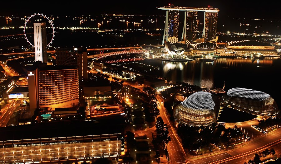 Singapore by Night by Jason Mortel - Landscapes Travel