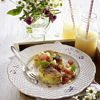Crispy Pistachio Polenta with Marinated Melon.