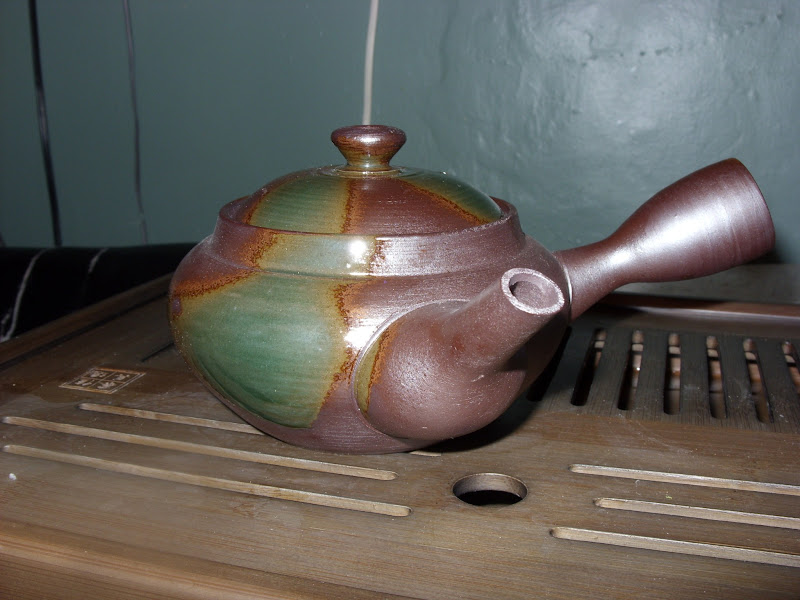 Photo: My Kyusu, purchased from Hibiki An. The colorful patches are iridescent and absolutely beautiful in person.