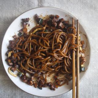 Noodles with Black Bean Sauce (Jajangmyeon).
