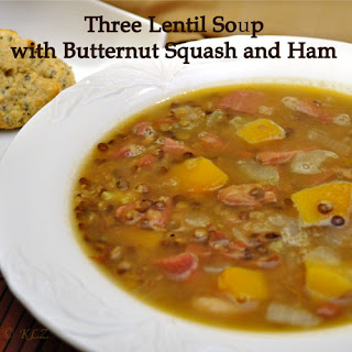 Three Lentil Soup with Butternut Squash and Ham.