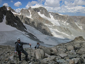 Photo: Getting back up Bonney Pass was almost too easy, we're all smiles. Summit in the back.