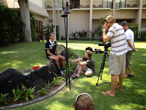 Photo: Lots of media following world long course record holder Andreas Raelert