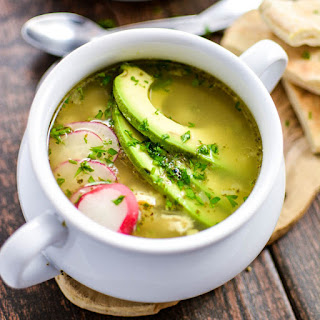 Chicken Posole (Pozole) Verde Soup.
