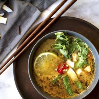 Vegan Thai Lemongrass Noodle Soup.