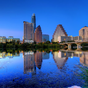 Twilight Reflections  by Dave Files - Buildings & Architecture Office Buildings & Hotels ( austin, pwcarcreflections, water, tx, twilight, cityscape, evening, river )